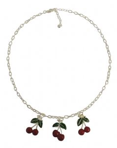 Silver tone Pendant Cherry Necklace
